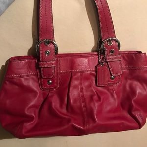 Authentic red Coach leather bucket handbag/purse
